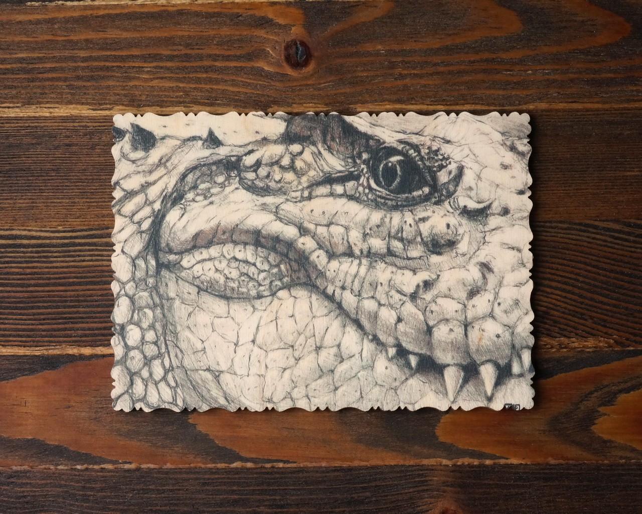 """Деревянная открытка """"Крокодил"""" Артура Шугурова, графика"""