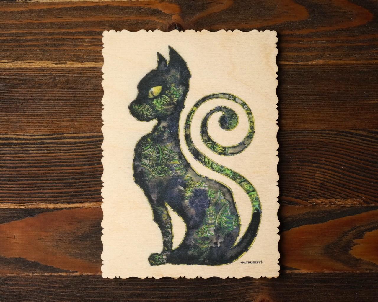 """Деревянная открытка """"Кошка Египта"""""""