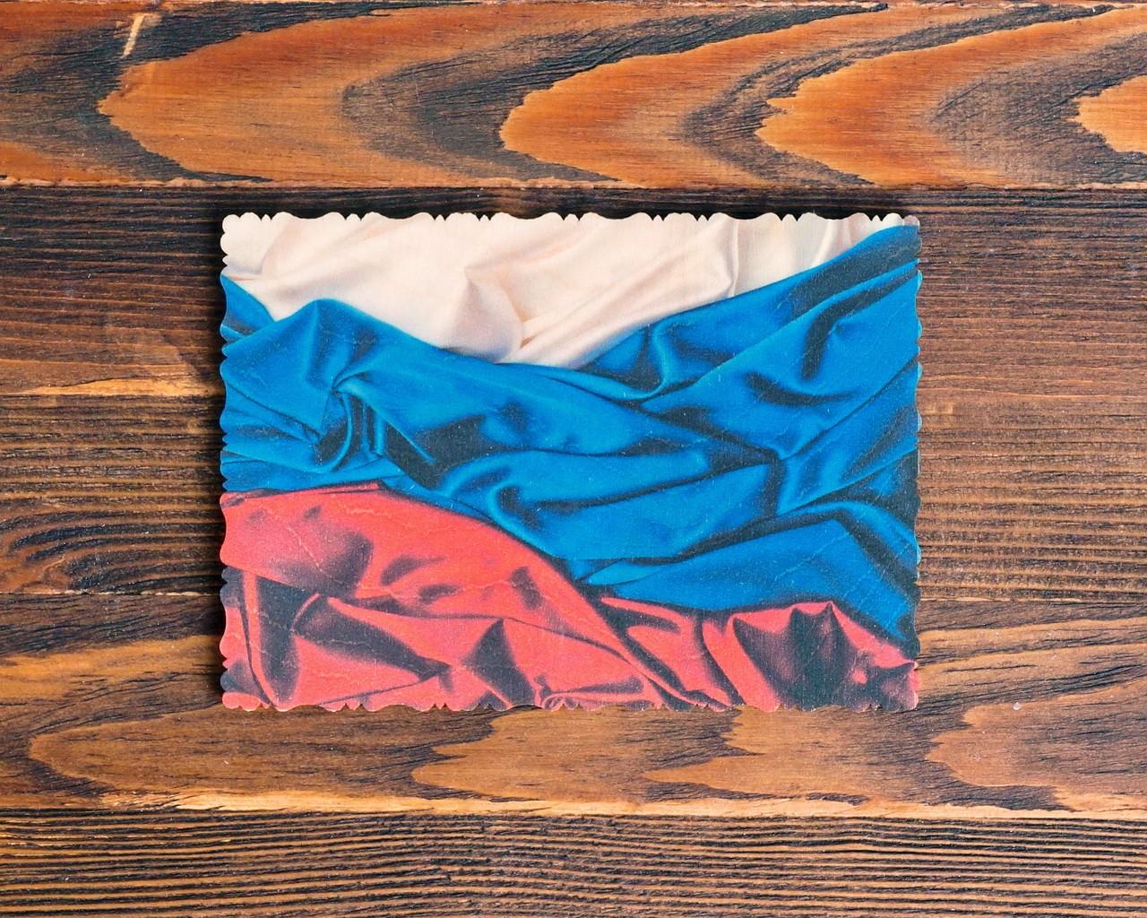 """Деревянная открытка """"Флаг России"""""""