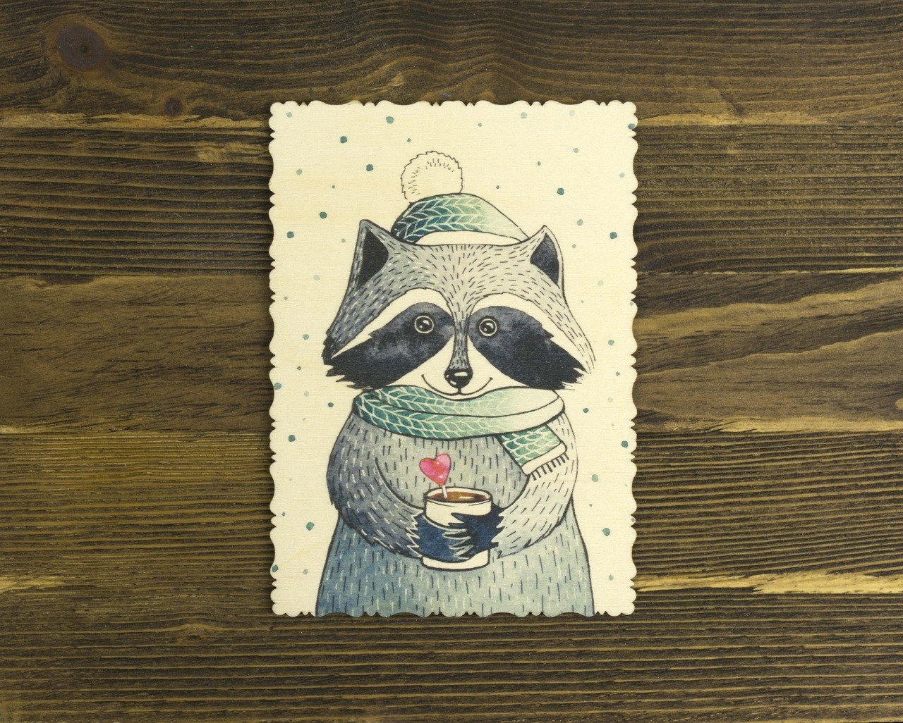 """Деревянная открытка """"Енот"""""""
