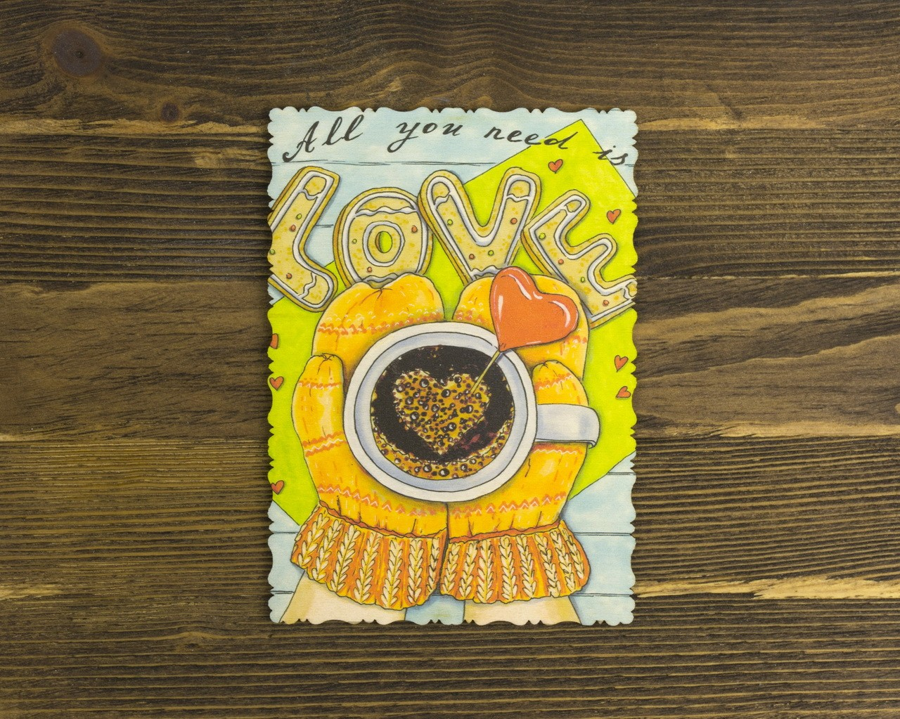 "Деревянная открытка ""All You Need Is Love"""