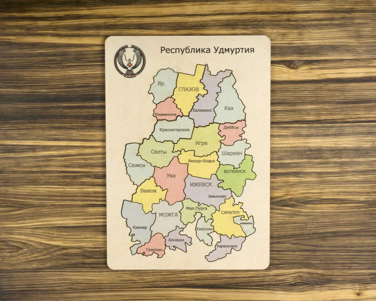 Деревянный пазл Собери Удмуртию