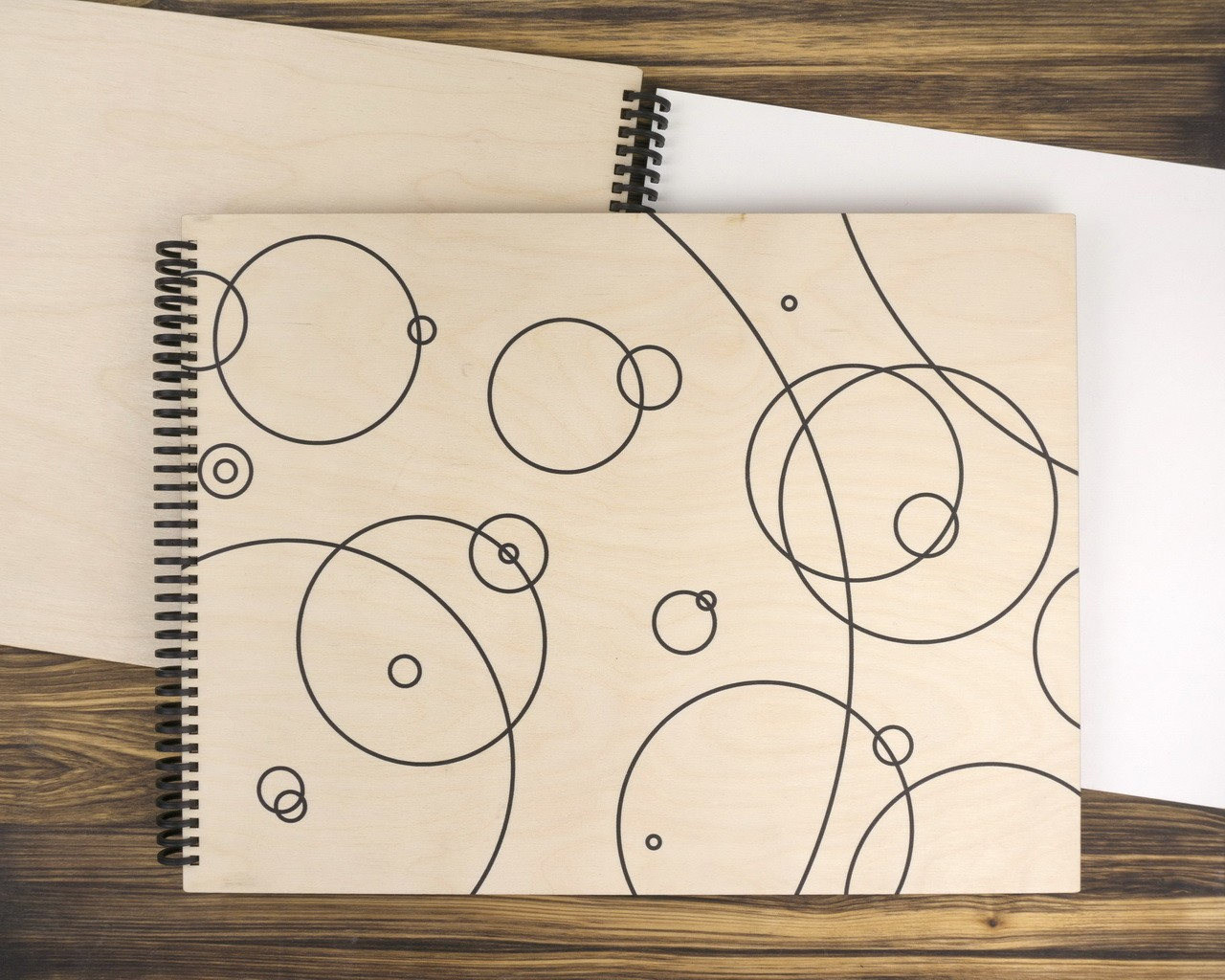 """Деревянный скетчбук для маркеров """"Круги"""" А3 40х30 см"""