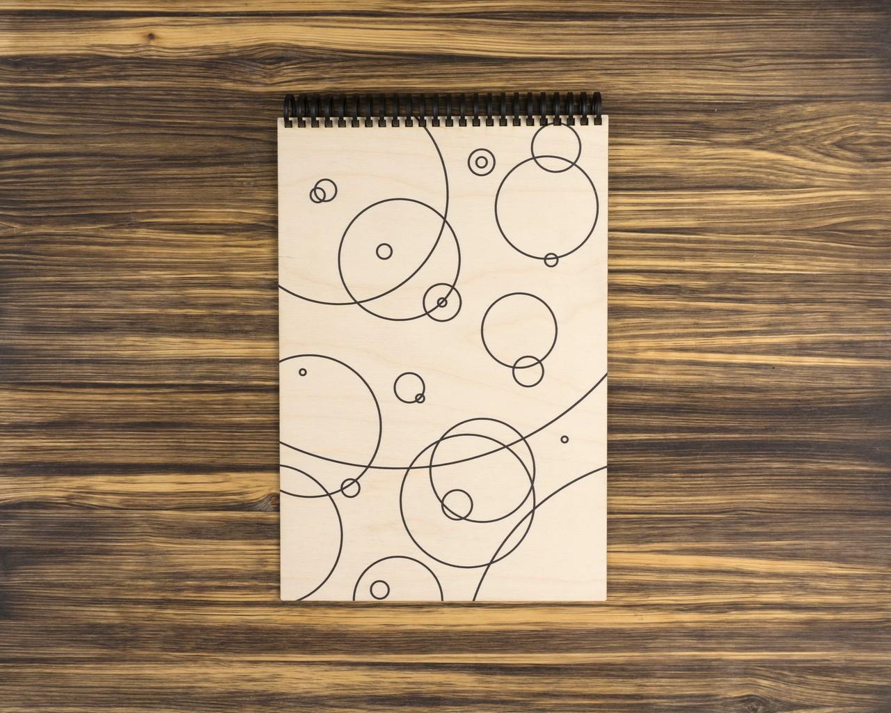 """Деревянный скетчбук для маркеров """"Круги"""" 30х20 см"""