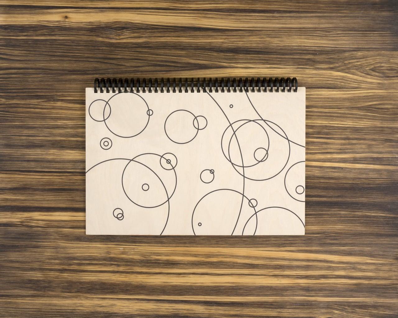 """Деревянный скетчбук для маркеров """"Круги"""" 20х30 см"""