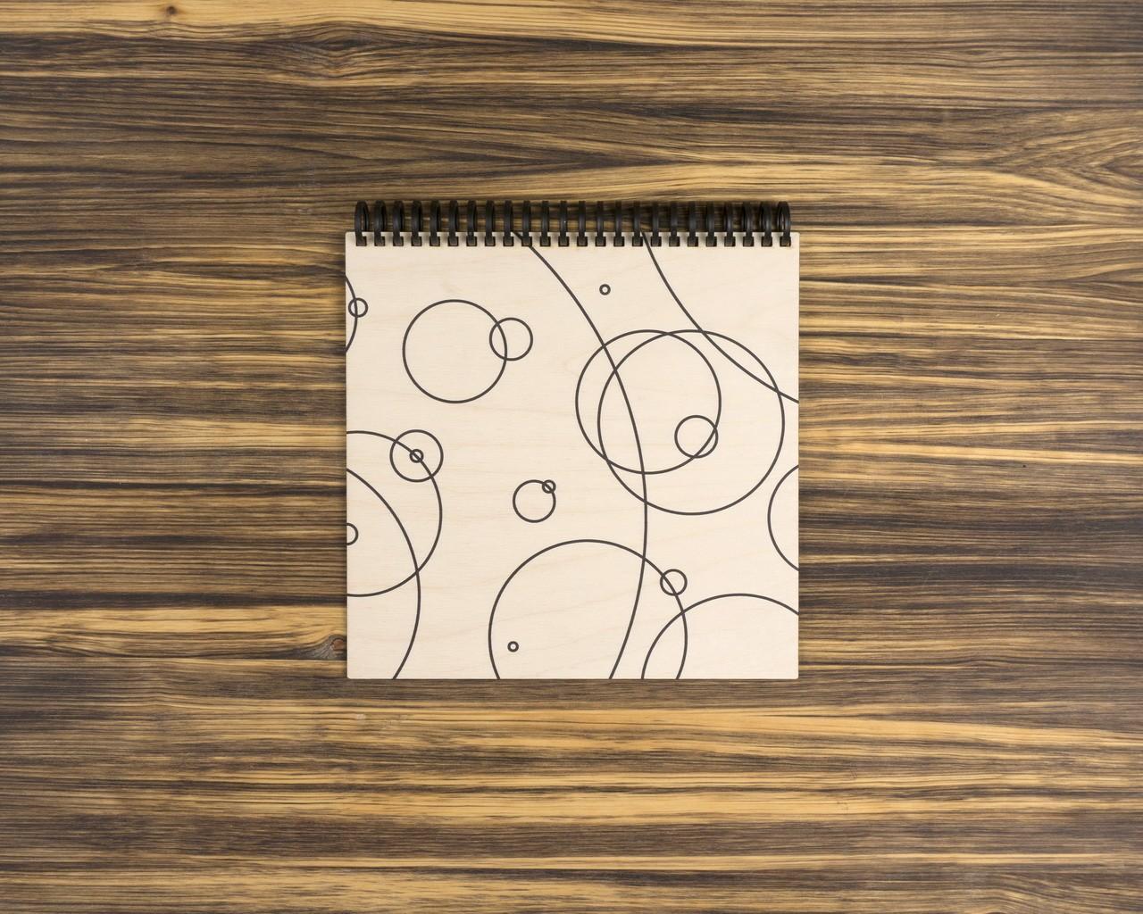 """Деревянный скетчбук для маркеров """"Круги"""" 20х20 см"""