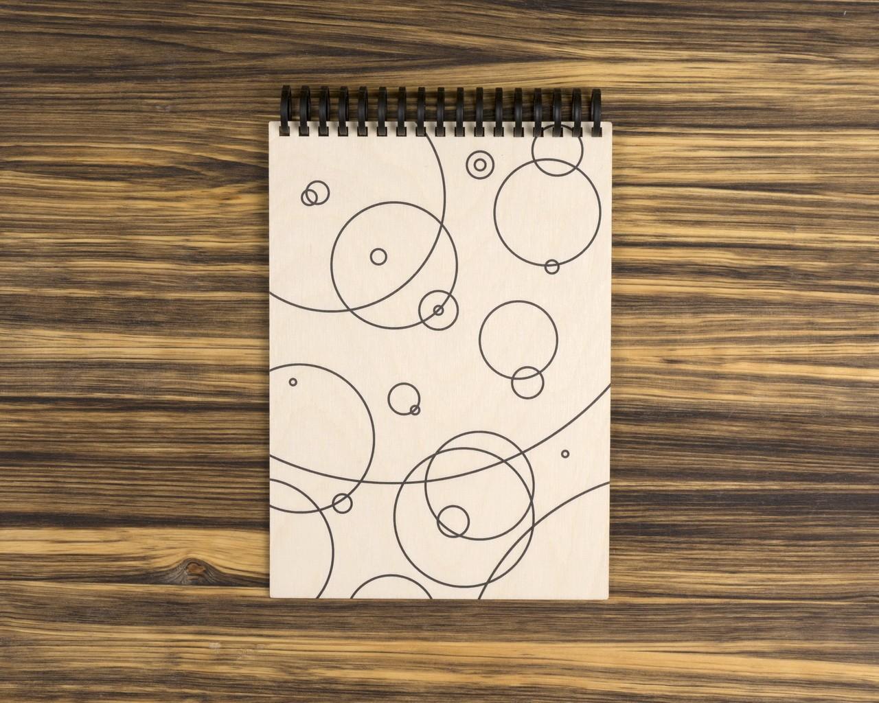 """Деревянный скетчбук для маркеров """"Круги"""" 20х15 см"""