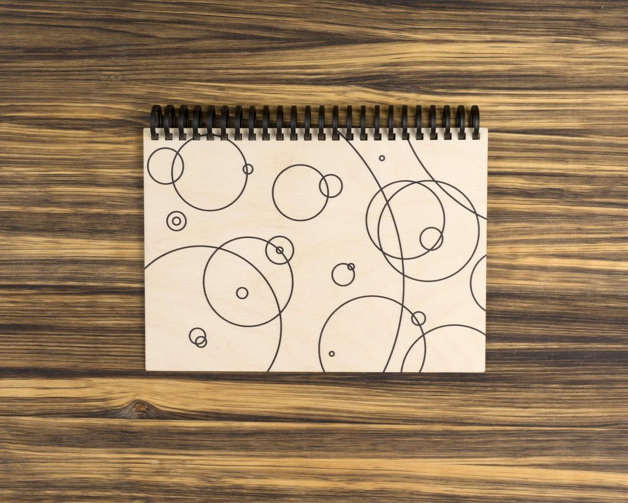 """Деревянный скетчбук для маркеров """"Круги"""" 15х20 см"""