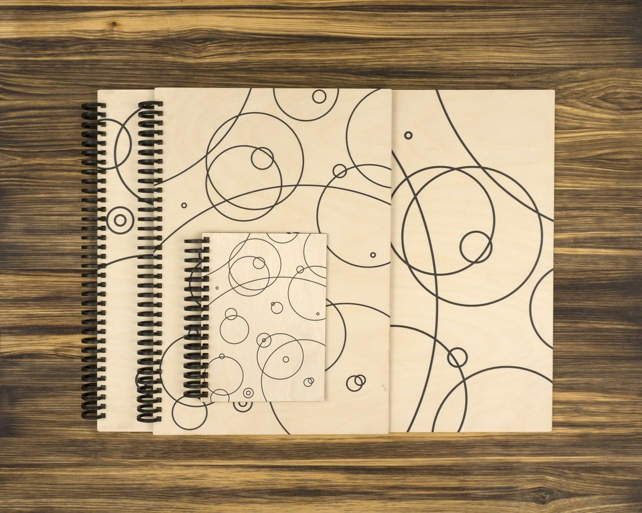 """Деревянный скетчбук для маркеров """"Круги"""" 10х15 см"""