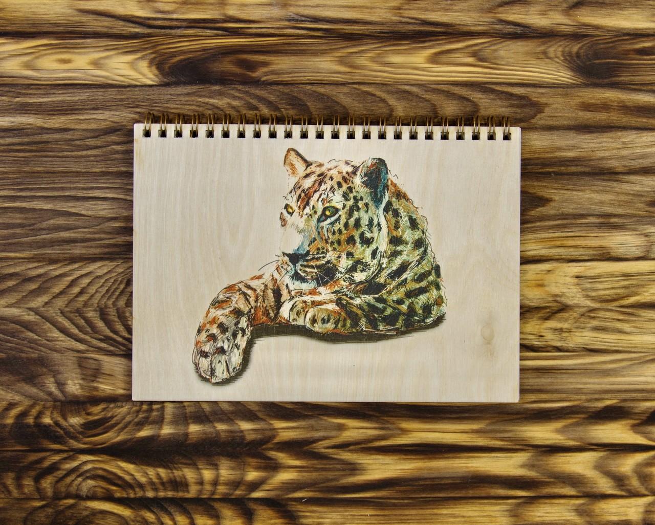 """Деревянный блокнот А6 """"Леопард"""""""