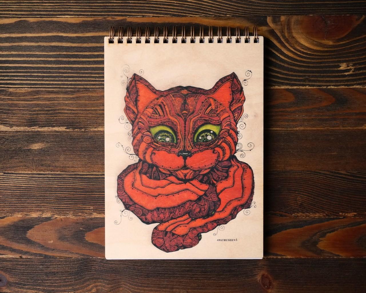 """Деревянный блокнот А6 """"Красный кот"""""""