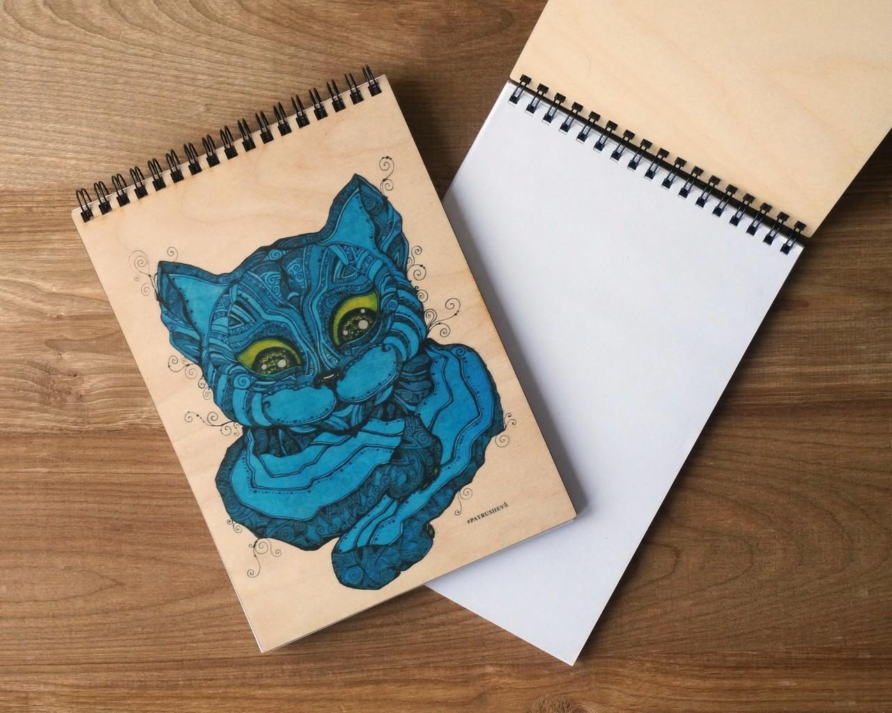 "Деревянный блокнот А5 ""Синий кот"""