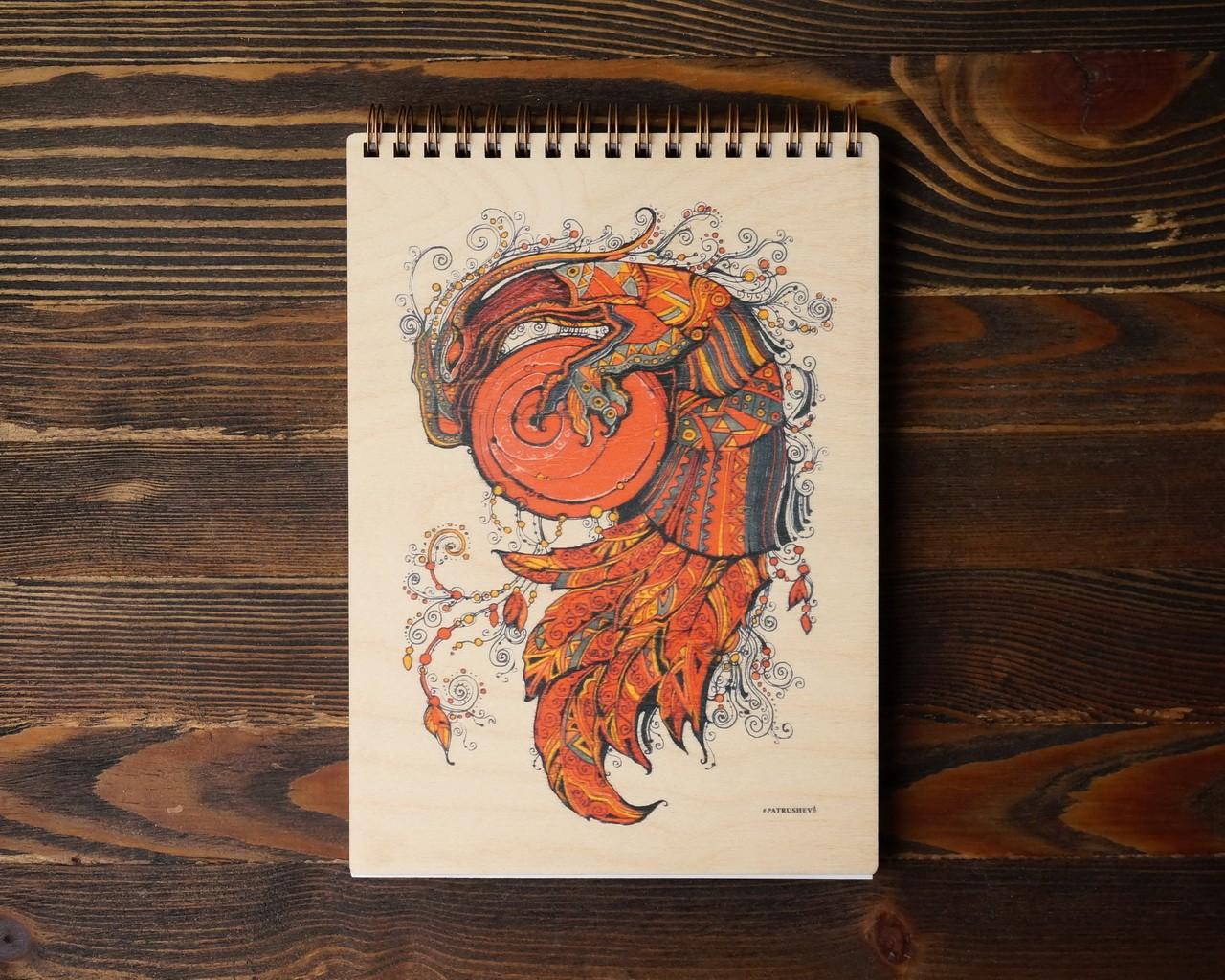 """Деревянный блокнот А5 """"Дракон света оранжевый"""""""