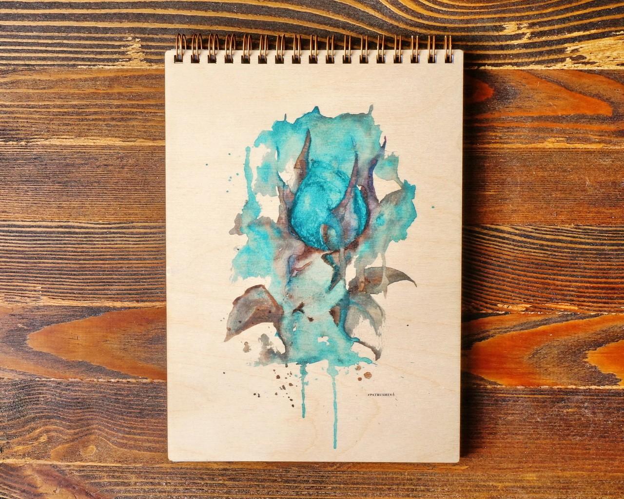 """Деревянный блокнот А6 """"Голубая роза"""""""