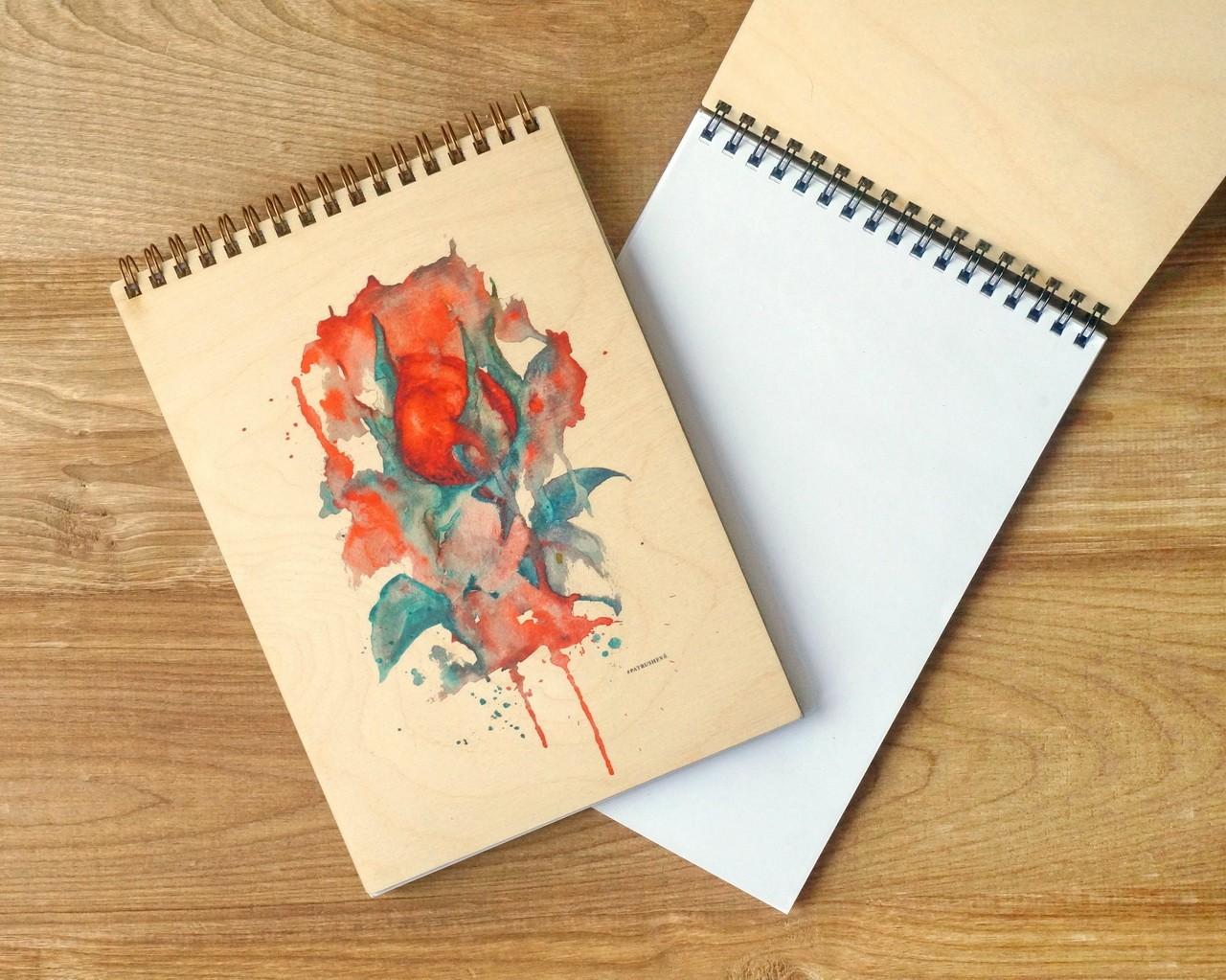 Деревянный блокнот Роза