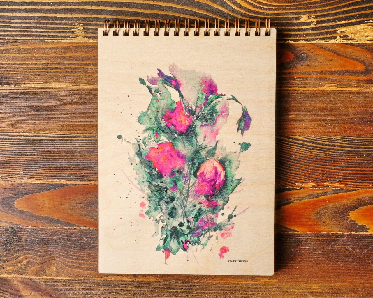 """Деревянный блокнот А5 """"Розовый букет"""""""