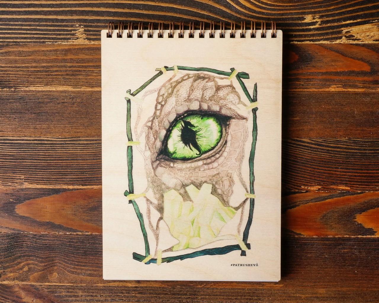 """Деревянный блокнот А6 """"Зеленый морской дракон"""""""