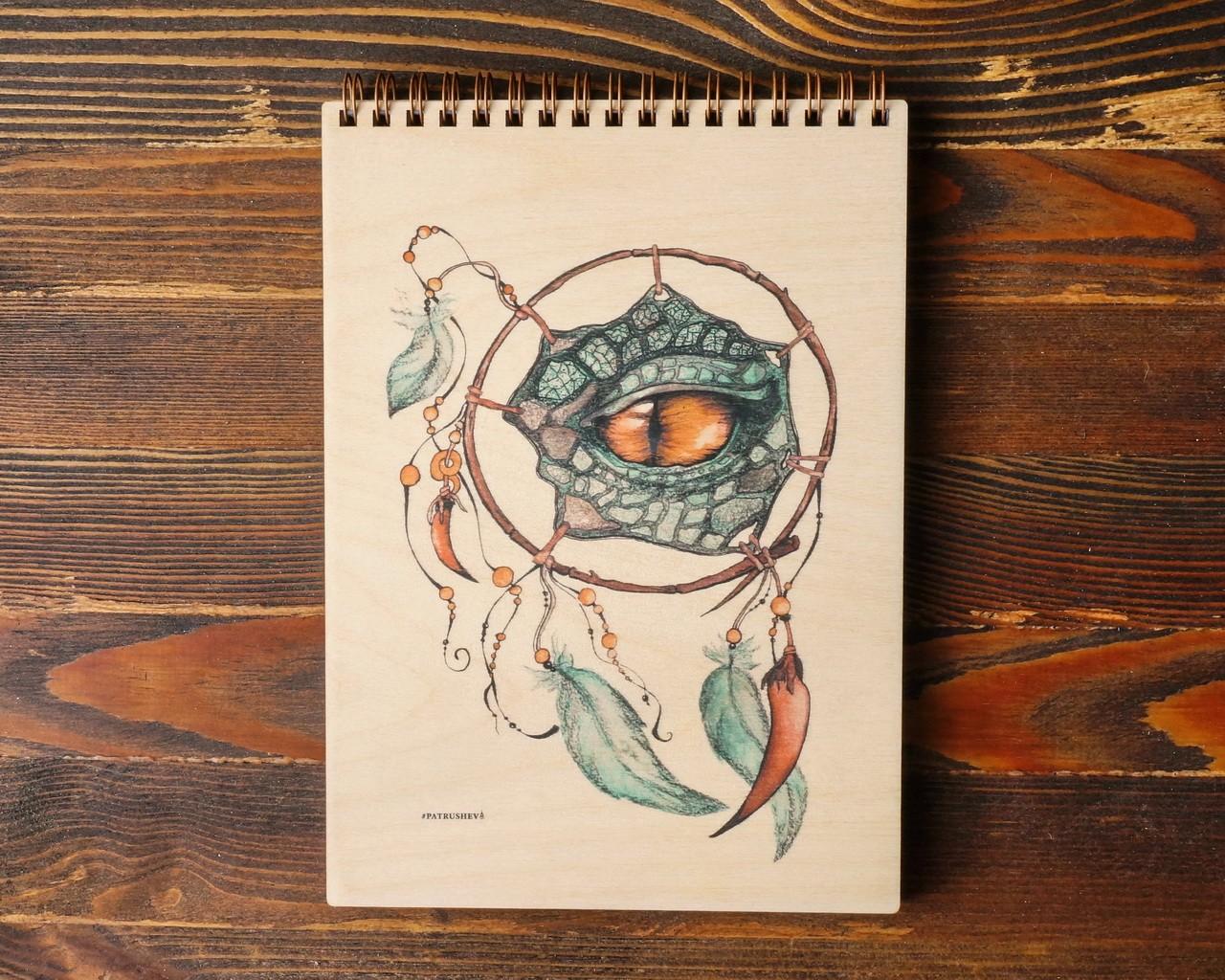 """Деревянный блокнот А6 """"Глаз дракона рыжий"""""""