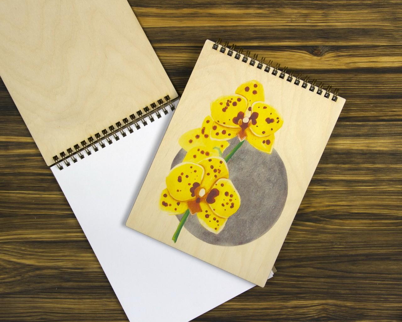 """Деревянный блокнот А5 """"Орхидея"""""""