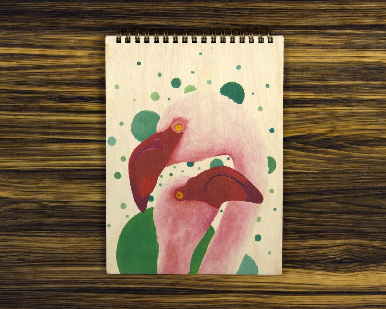 "Деревянный блокнот А5 ""Фламинго"""