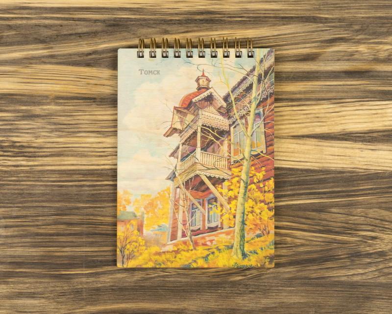 """Деревянный блокнот """"Осенние мотивы"""" А6"""