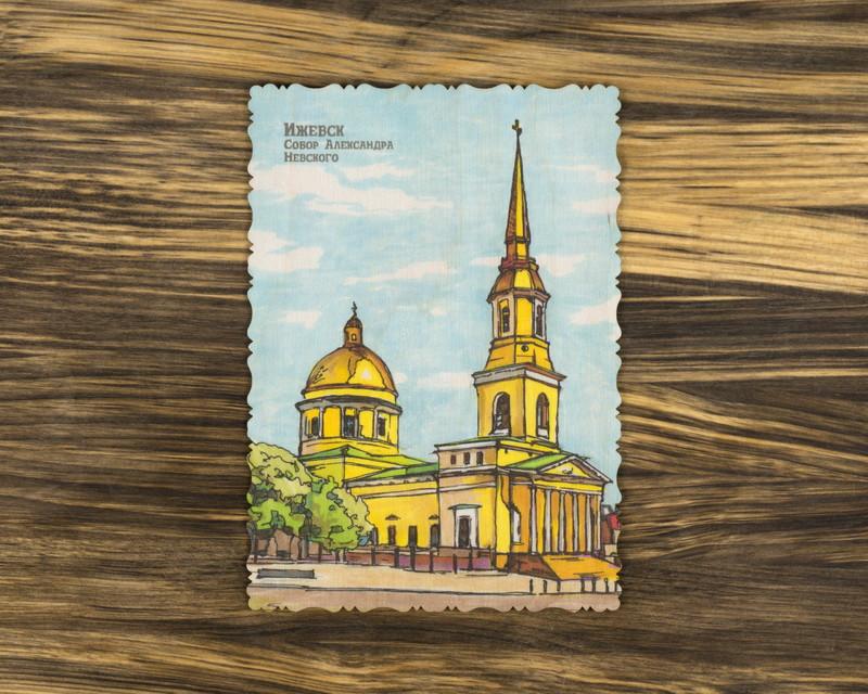 """Деревянная открытка """"Собор Александра Невского"""" А6"""