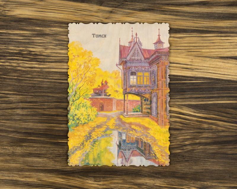 """Деревянная открытка """"После дождя"""" А6"""