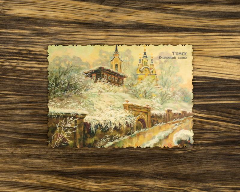 """Деревянная открытка """"Зимние кружева"""" А6"""