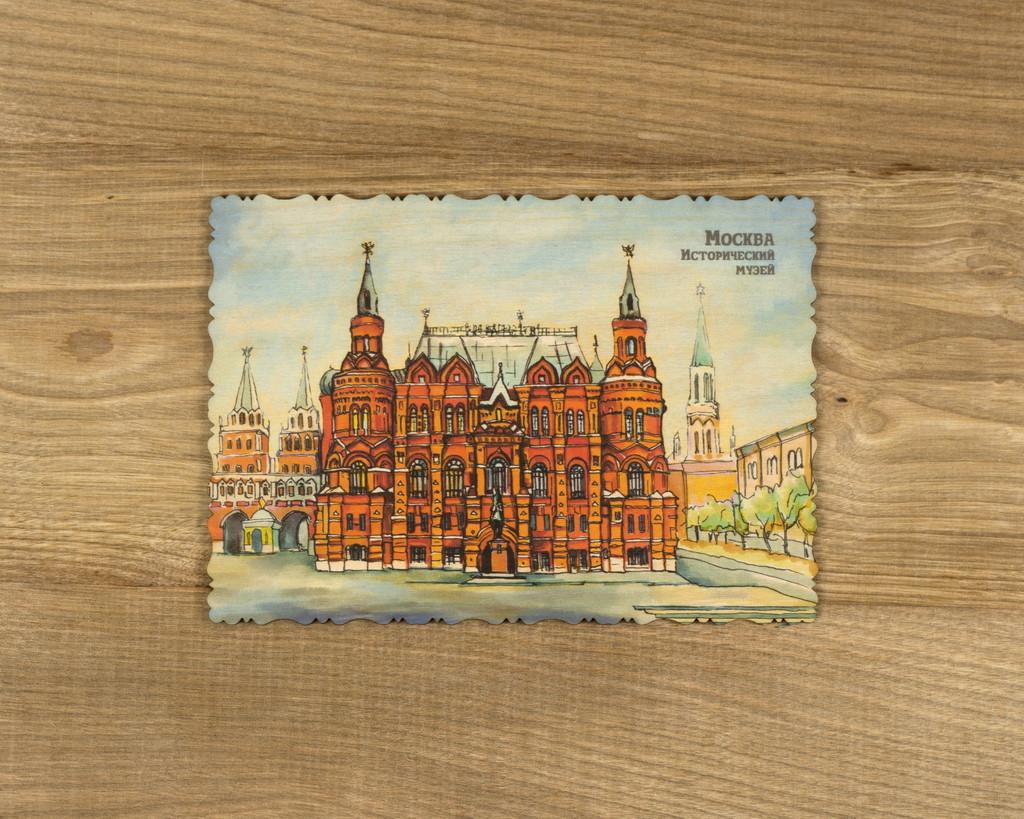 """Деревянная открытка """"Москва. Исторический музей"""" А6"""