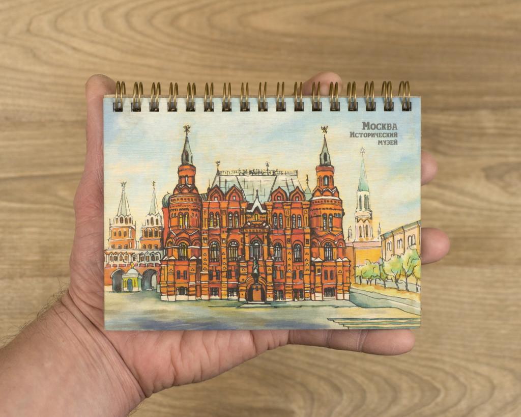 """Деревянный блокнот """"Москва. Исторический музей"""" А6"""