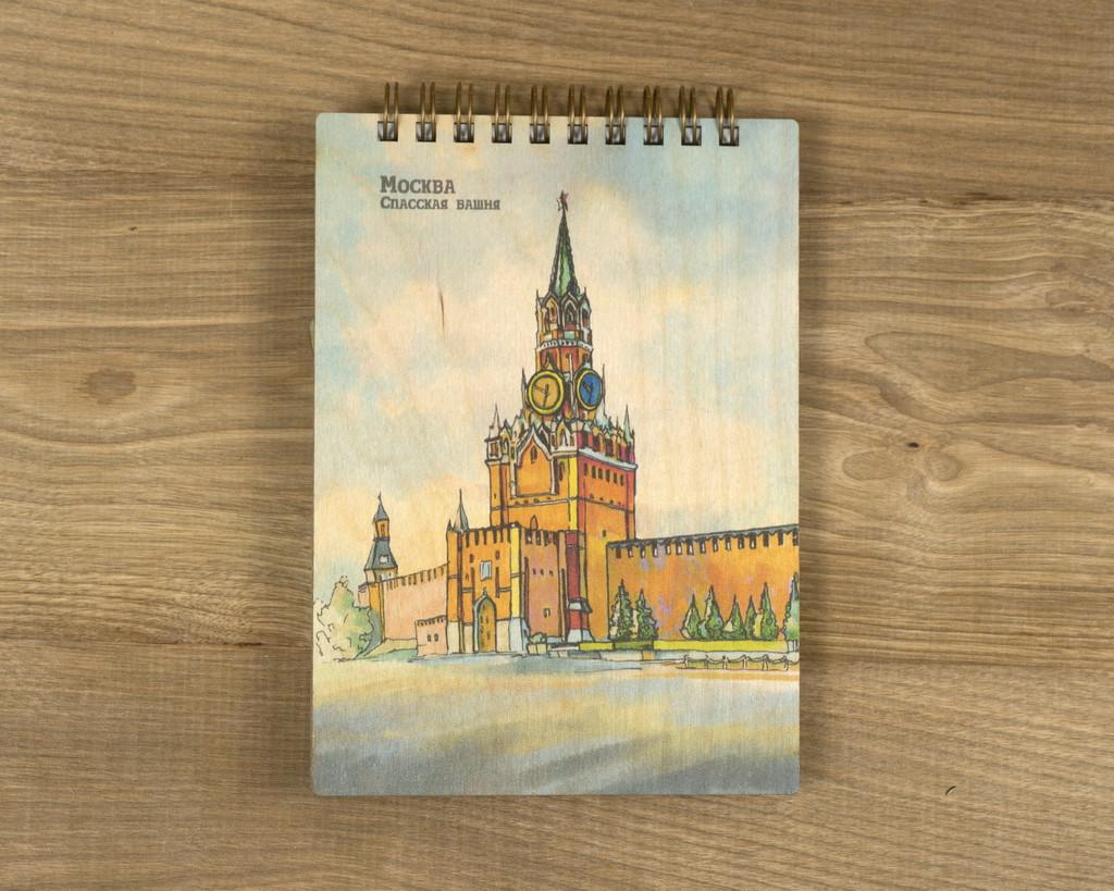 """Деревянный блокнот """"Москва. Спасская башня"""" А5"""