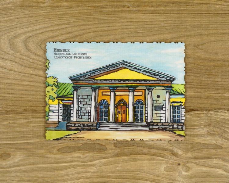 """Деревянная открытка """"Национальный музей Удмуртской республики"""" А6"""