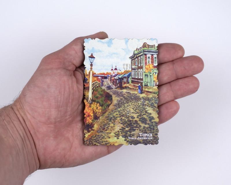 """Деревянный магнит """"Улица Дворянская"""" 70х100 мм"""